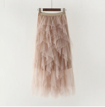 Load image into Gallery viewer, Ruffle Asymmetrical Tulle Skirt