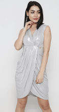 Load image into Gallery viewer, Silver Asymmetrical Dress