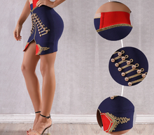 Load image into Gallery viewer, Blue Bandage Pencil Skirt