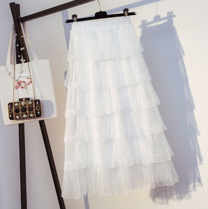 Mesh layered skirt