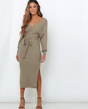 Load image into Gallery viewer, V Neck Belted Sweater Dress