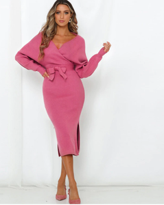 V Neck Belted Sweater Dress