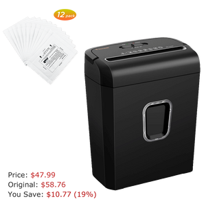 Bonsaii C234-A 6-Sheet Micro-Cut P-4 High-Security Shredder & 12-Pack Lubricant Sheet - bonsaii