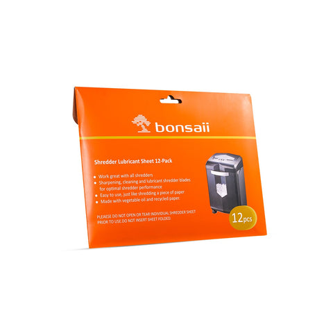 Bonsaii Paper Shredder Lubricant Oil 12 oz. / 400ml & Lubricant Sheet 24-pack
