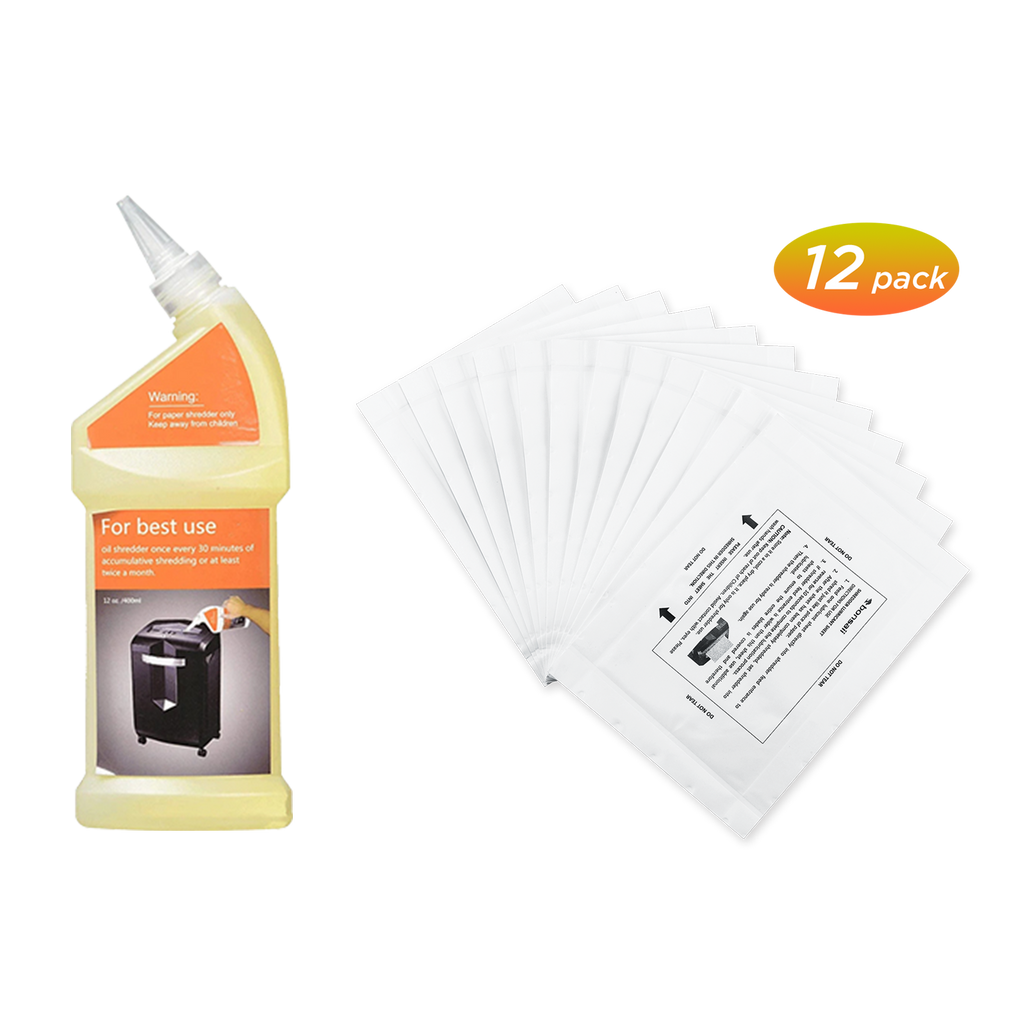 Bonsaii Paper Shredder Lubricant Oil 12 oz. / 400ml & Lubricant Sheet 12-pack - bonsaii