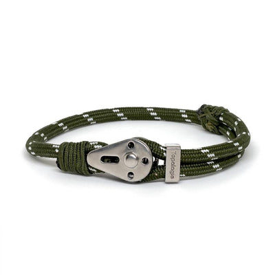 Yosemite / Green Patterned / Silver - Yosemite - Inspired by Rock-climbing - Matching Couple Bracelets - Topologie Hong Kong