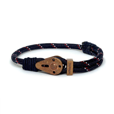 Yosemite / Navy Patterned / Raw Brass - Yosemite - Inspired by Rock-climbing - Matching Couple Bracelets - Topologie Hong Kong