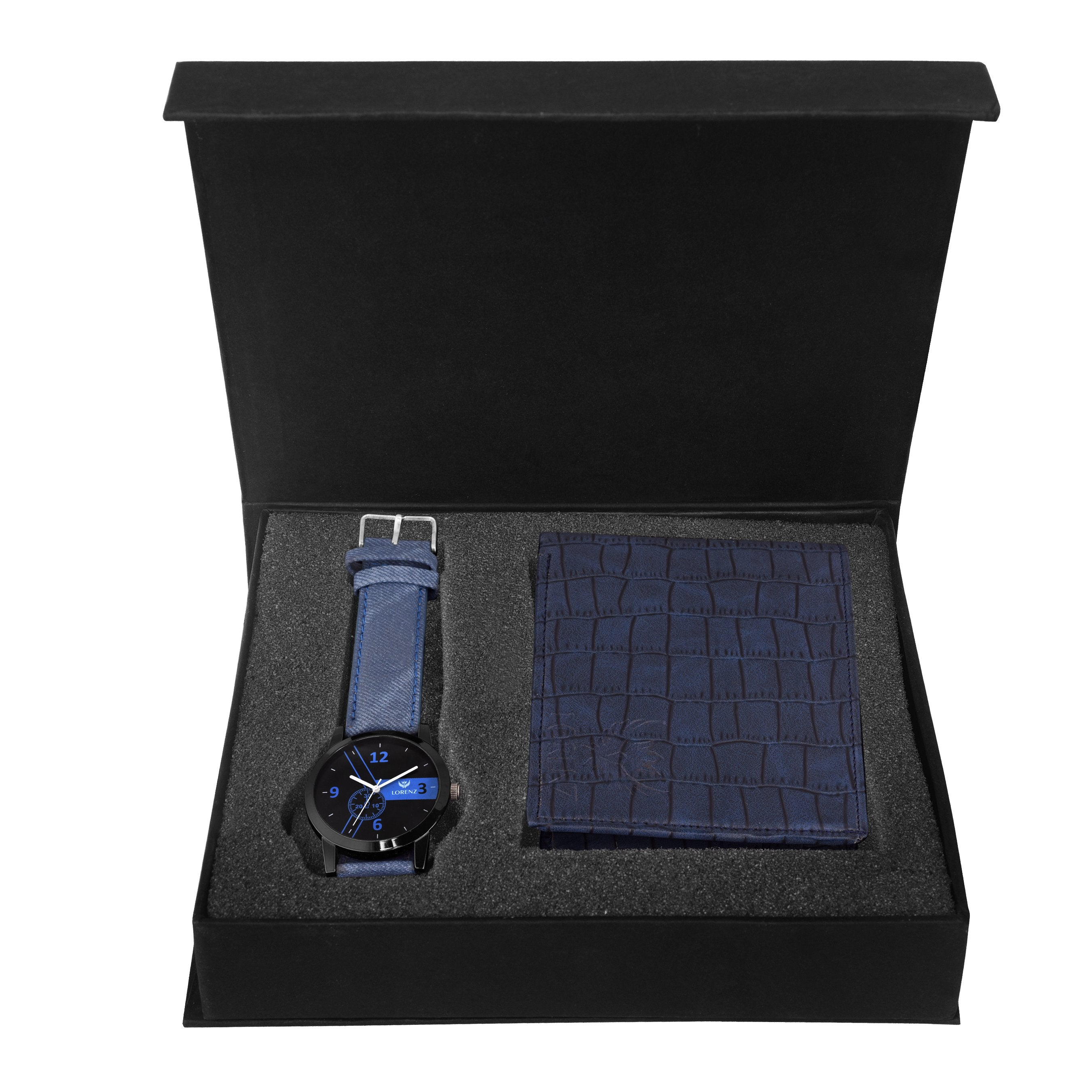 Lorenz CM-2014WL-06 Combo of Black Dial Analogue Watch and Blue Wallet for Men - Lorenz Fashion