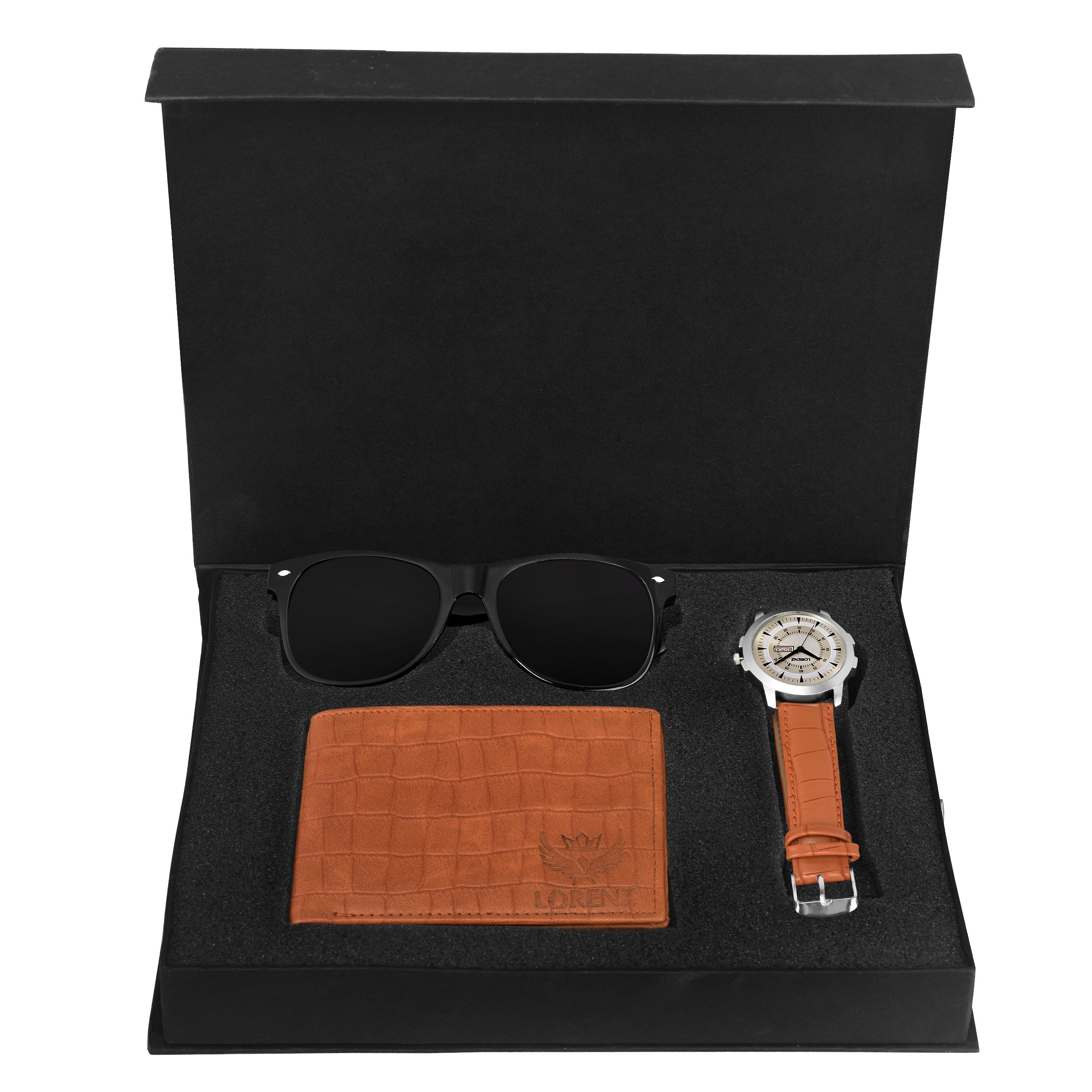 Lorenz CM-2016SN-WL-07 Combo of Men's Silver Dial Analogue Watch, Brown Wallet and Black Sunglasses - Lorenz Fashion