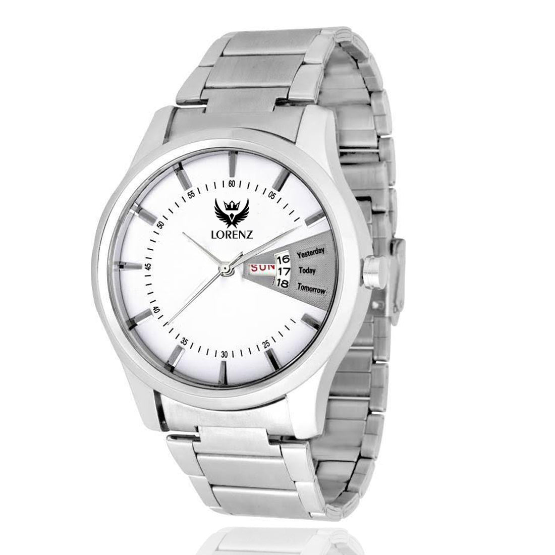 Lorenz Mk-1047A Day & Date Edition White Dial Analog Watch for Men