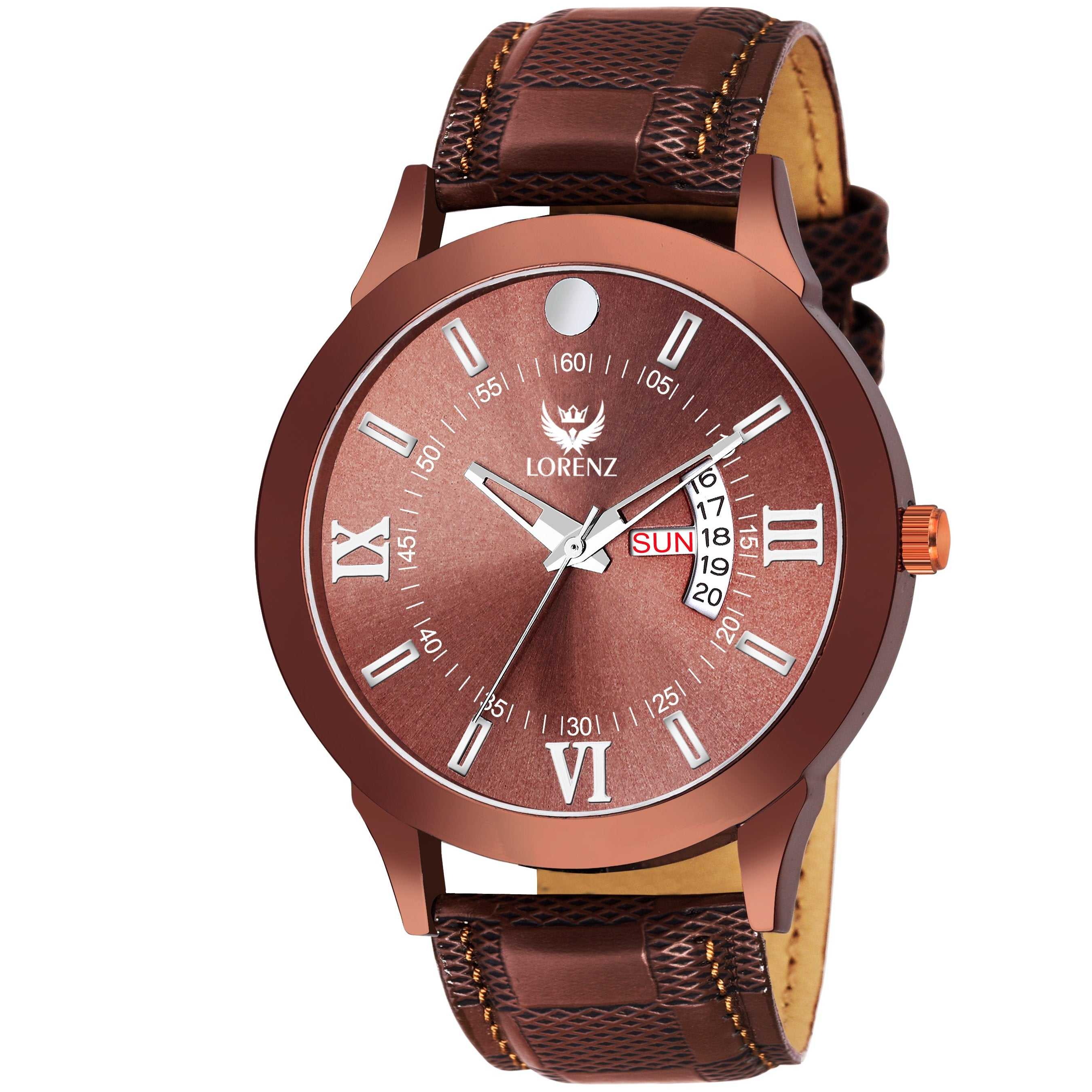 Lorenz Day & Date Brown Dial Watch for Men & Boys- MK-2037W - Lorenz Fashion
