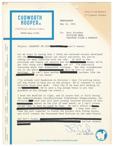 Cudworth-Hooper 1952 Memorandum - Curio & Co.