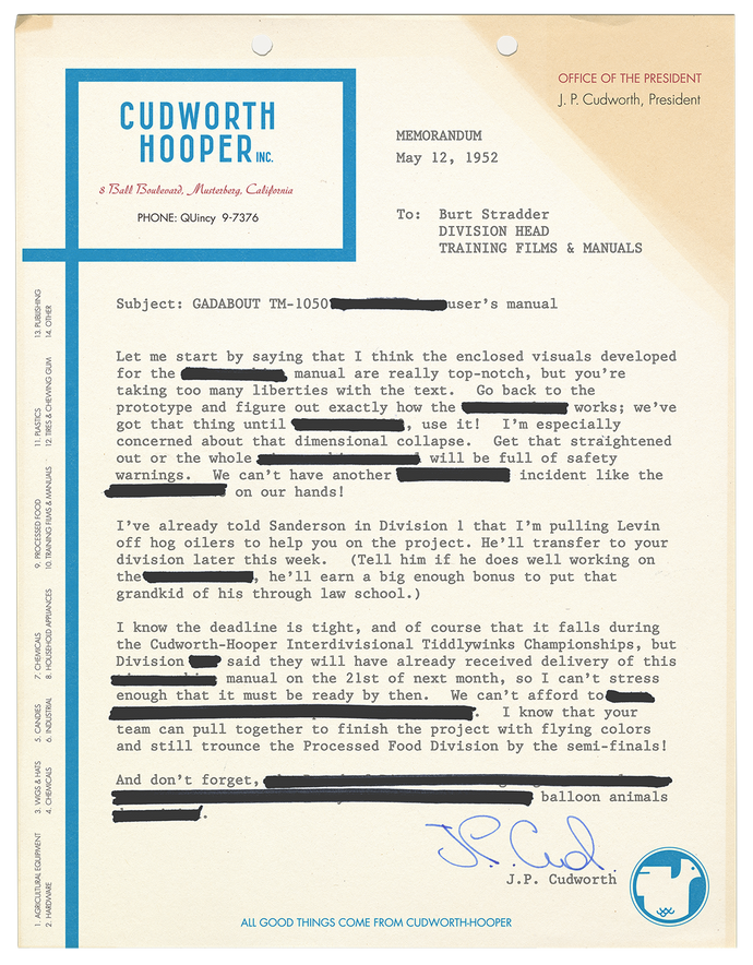 Cudworth-Hooper 1952 Memorandum
