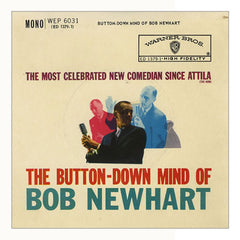 Curio & Co. listens to hit comedy album The Button-down Mind of Bob Newhart. LP Cover of The Button-down Mind of Bob Newhart. Curio and Co. www.curioandco.com