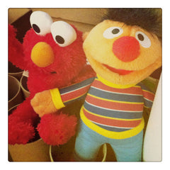 Curio & Co. looks at classic children's program Sesame Street. Photo of plush Ernie and Elmo. Curio and Co. www.curioandco.com