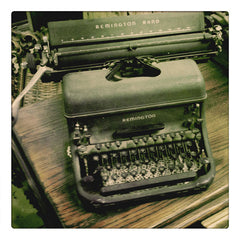 Curio & Co. looks at vintage Remington typewriters. Photograph of dusty typewriter. Curio and Co. www.curioandco.com