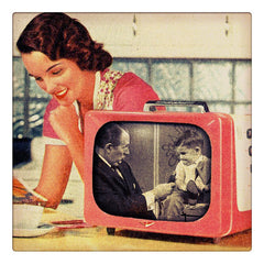 Curio & Co. takes a look at what makes a TV personality different from other celebrities - retro photo of 1950s woman looking at a magazine with a vintage TV showing Art Linkletter's classic tv show Kids Say the Darndest Things. Curio and Co. OG. www.curioandco.com