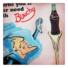 Curio & Co. looks at how vintage soft drink company Bunchy used classic 1960s animated TV character Spaceman Jax as a product spokesman. Image of Spaceman Jax Bunchy ad, from Curio and Co. www.curioandco.com