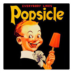 Curio & Co. looks at the history of classic summertime treat, Popsicles. Image of a vintage ad for Popsicles. www.curioandco.com