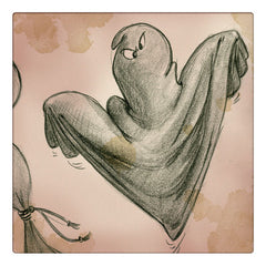ghost drawing (graphite on paper) by Cesare Asaro, Happy Halloween by Curio & Co. (Curio and Co. OG - www.curioandco.com)