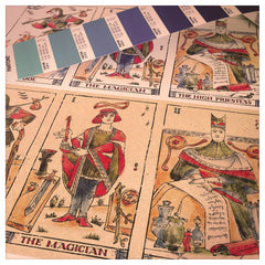 Behind-the-scenes look at how the Musterberg deck of tarot cards are made, showing production proof and pantone color swatches. Image courtesy Curio and Co. www.curioandco.com