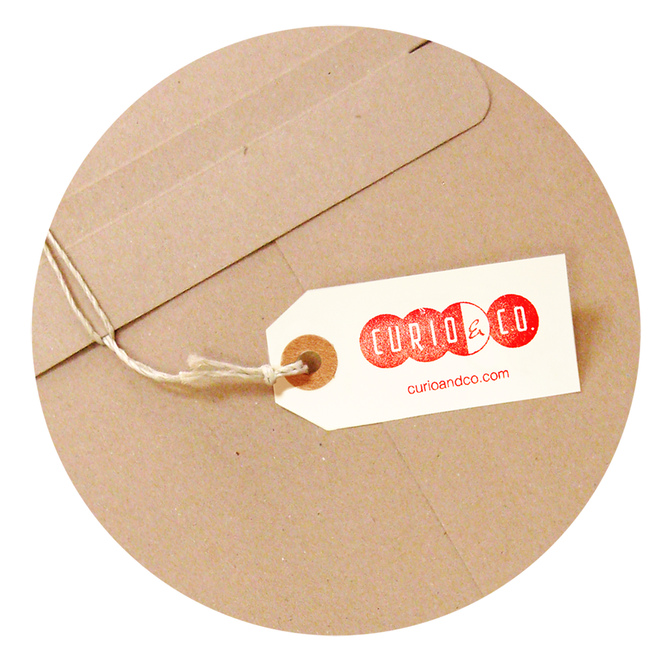 Curio & Co. tag on package