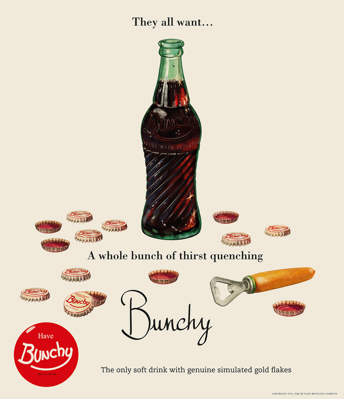 Illustrated vintage magazine ad of open Bunchy Cola, multiple bottle caps and bottle opener (circa 1950's)