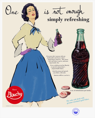Illustrated vintage magazine ad with woman holding Bunchy Cola (circa 1950's)