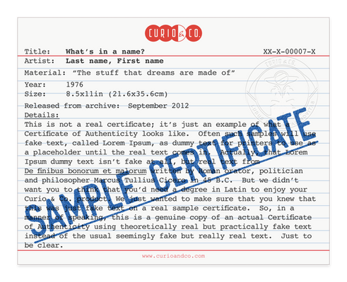 Sample certificate of authenticity