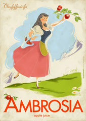 Oberpfaffendorfer - Ambrosia Apple Juice - Illustrated vintage ad poster with girl in dirndl picking apples (circa 1950's - 1960's) - by Curio & Co. (Curio and Co. OG) www.curioandco.com}
