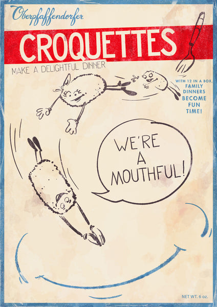 Vintage poster ad with anthropomorphic croquettes (circa 1940's) for frozen croquettes -