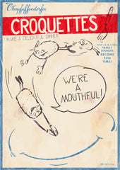 "Oberpfaffendorfer - Croquettes - Vintage poster ad with anthropomorphic croquettes (circa 1940's) for frozen croquettes - ""We are a mouth full"" - by Curio & Co. (Curio and Co. OG) www.curioandco.com"