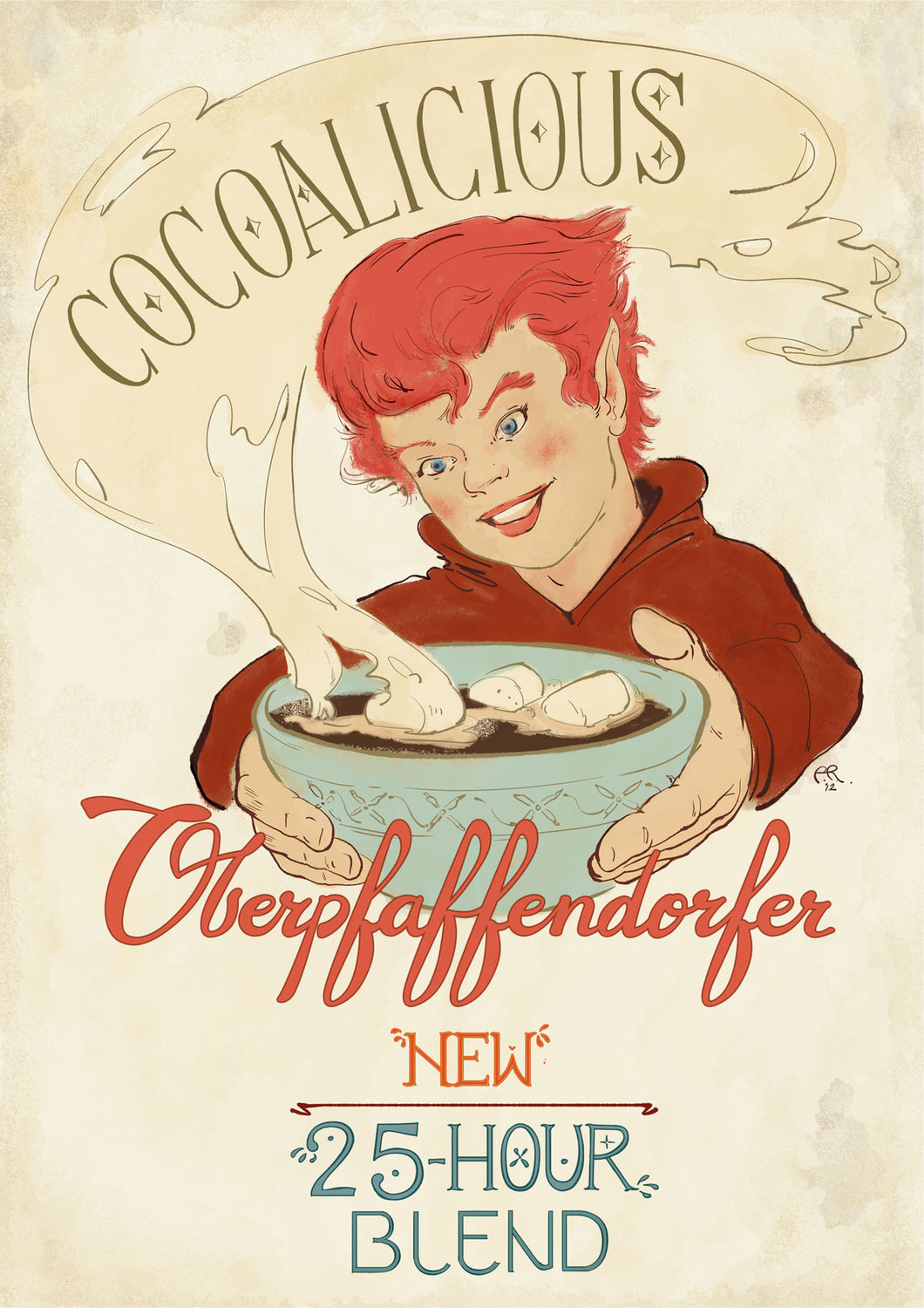 Illustrated vintage ad for hot coco and marshmallows served by elf (circa 1910's)