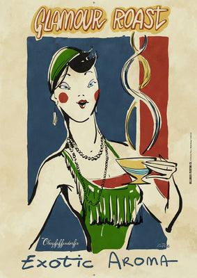 "Illustrated vintage poster ad with flapper drinking coffee (circa 1920's) ""Exotic Aroma"""