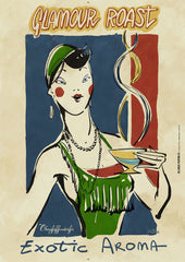 "Oberpfaffendorfer - Glamour Roast - Illustrated vintage poster ad with flapper drinking coffee (circa 1920's) ""Exotic Aroma"" - by Curio & Co. (Curio and Co. OG) www.curioandco.com"
