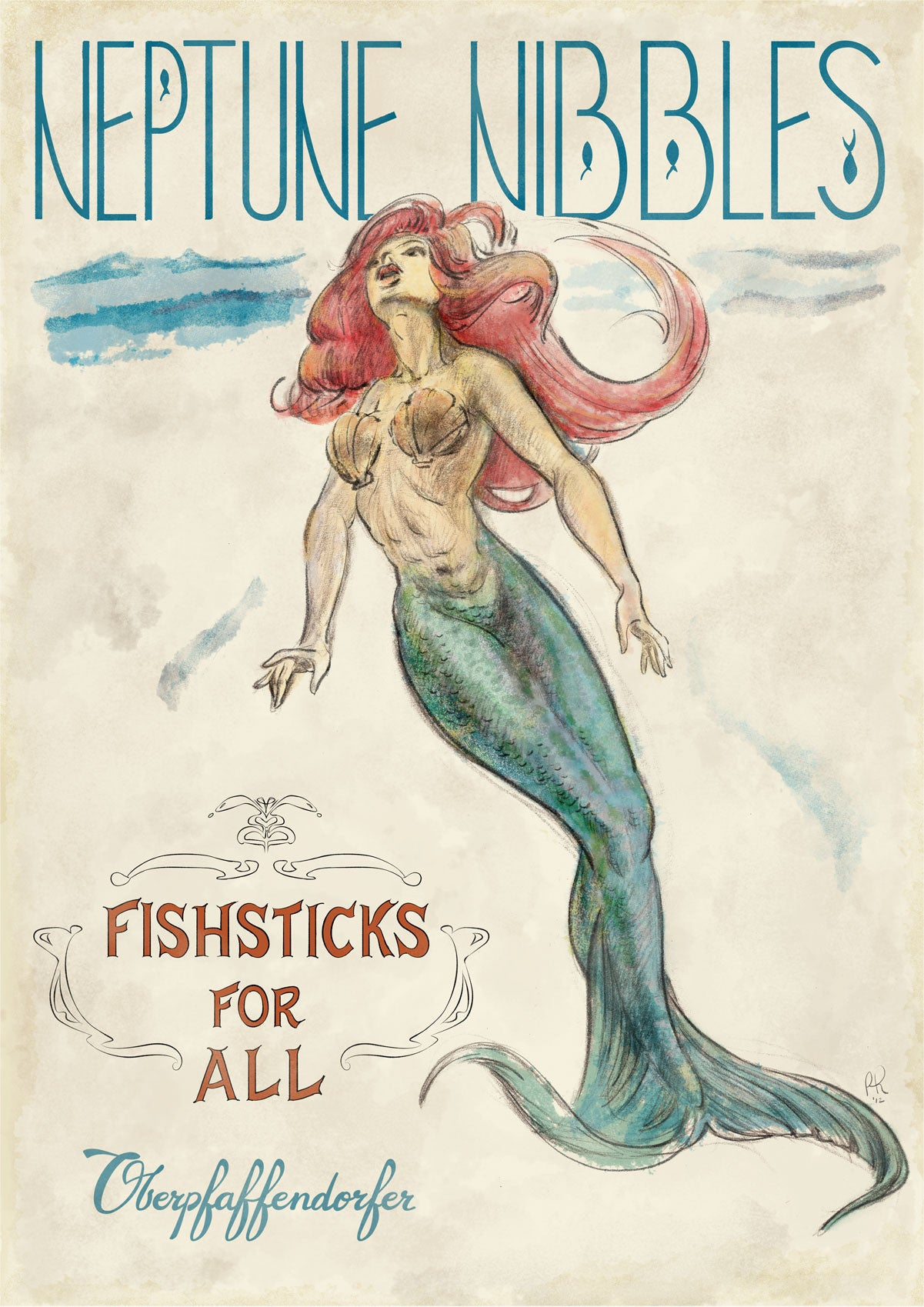 Illustrated mermaid vintage poster ad for fish sticks (circa 1910's)