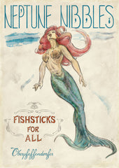 Oberpfaffendorfer - Neptune Nibbles - Illustrated mermaid vintage poster ad for fish sticks (circa 1910's) - by Curio & Co. (Curio and Co. OG) www.curioandco.com}