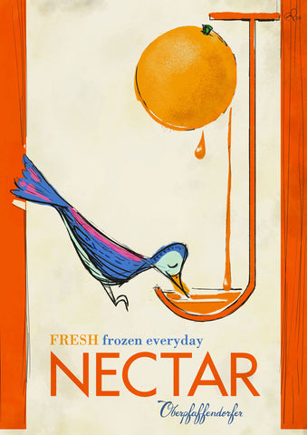 Oberpfaffendorfer - OJ Nectar - Vintage poster ad with bird drinking orange juice (circa 1910's) - by Curio & Co. (Curio and Co. OG) www.curioandco.com