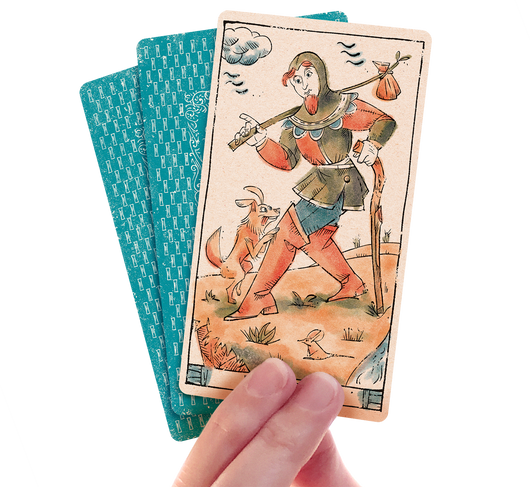 Tarot of Musterberg - The 79-card deck by Curio & Co. Three of the cards including The Fool - for game and cartomancy - by Curio and Co. (www.curioandco.com - Curio and Co. OG)