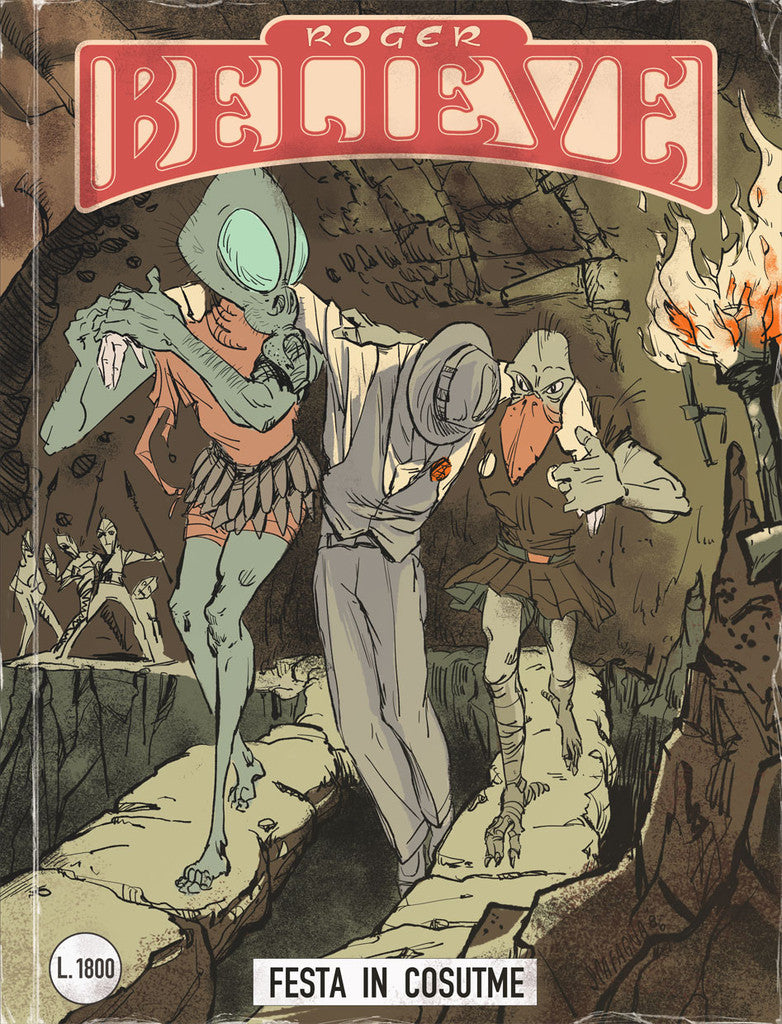Illustrated comic book cover of Roger in a cave being carried by two creatures (circa 1980's) for an adventure in the vain of Dylan Dog and Martin Mystery