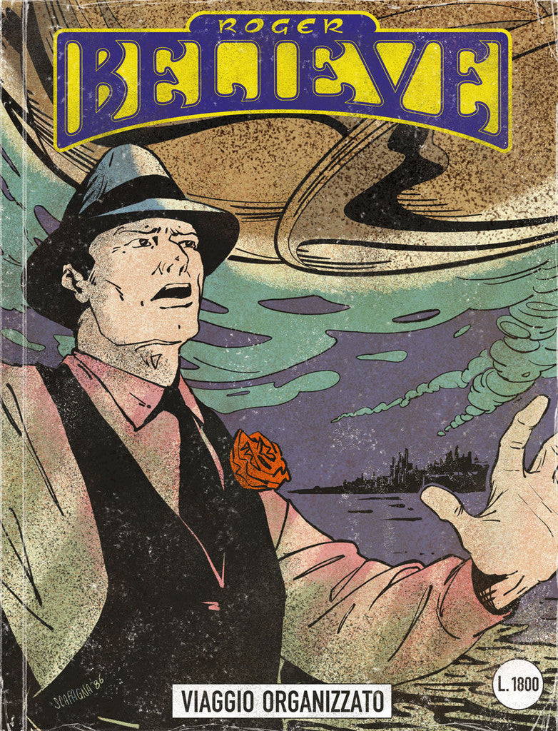 Illustrated comic book cover of Roger Believe and UFO (circa 1980's) for an adventure in the vain of Dylan Dog and Martin Mystery