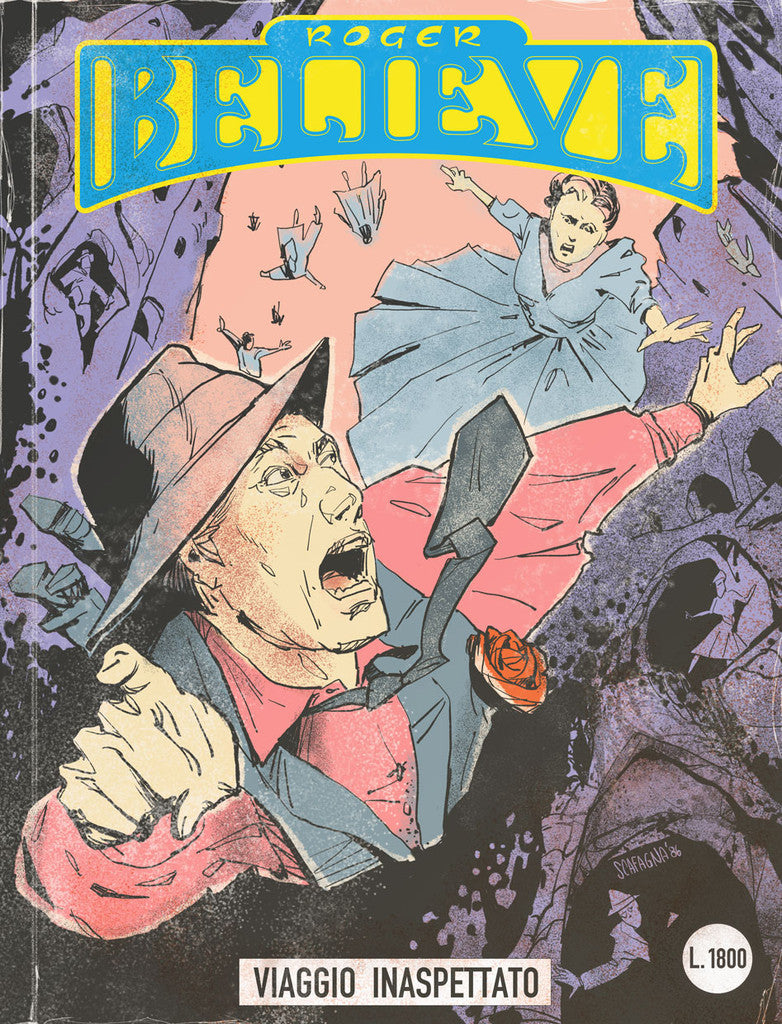 Illustrated comic book cover of Roger and others falling through a rocky valley (circa 1980's) for an adventure in the vain of Dylan Dog and Martin Mystery