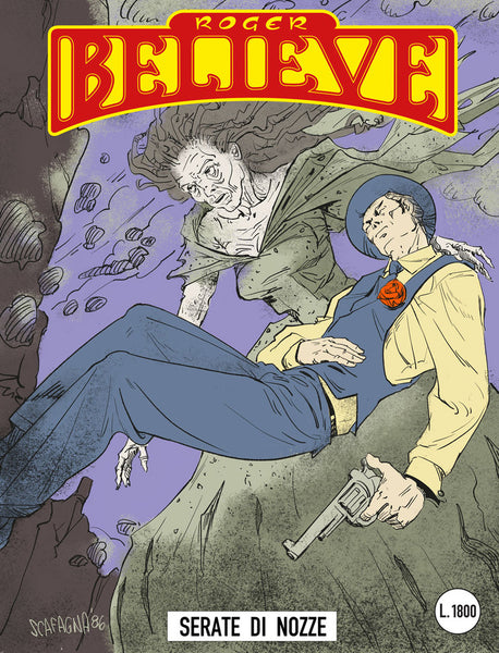 Illustrated comic book cover of Roger floating in mid air with woman's corpse watching over him (circa 1980's) for an adventure in the vain of Dylan Dog and Martin Mystery