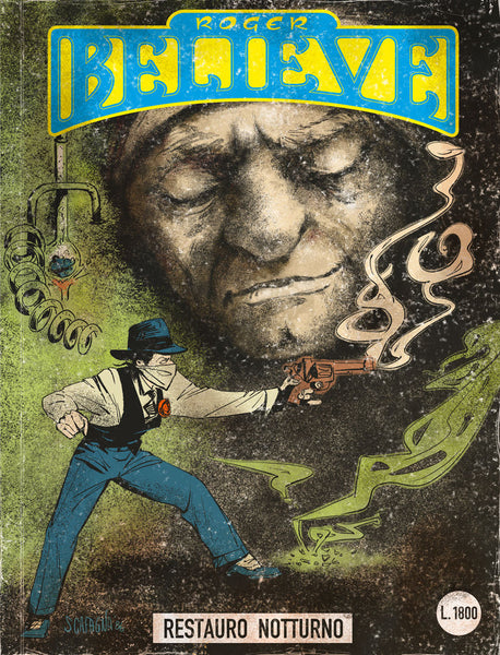 Illustrated comic book cover of learking face and Roger with smoking revolver (circa 1980's) for an adventure in the vain of Dylan Dog and Martin Mystery
