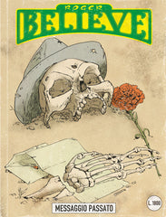 Roger Believe - Past Message (Messaggio Passato) - Illustrated comic book cover of Skull wearing a fedora along side a chrysanthemum resting on send (circa 1980's) for an adventure in the vain of Dylan Dog and Martin Mystery - by Curio & Co. (Curio and Co. OG) www.curioandco.com