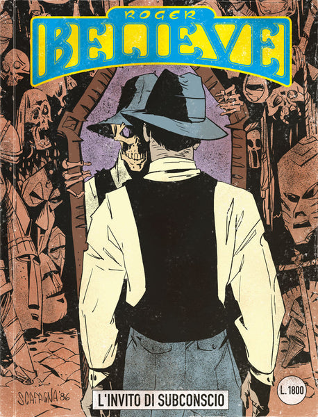 Illustrated comic book cover of Roger seeing a skeletal self reflected in the mirror (circa 1980's) for an adventure in the vain of Dylan Dog and Martin Mystery