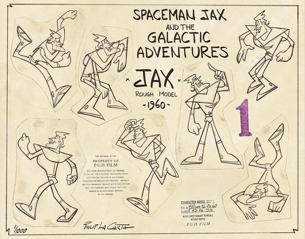 Various poses of Jax, title of model sheet and Pud film studio copyrights stamps