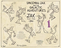 Spaceman Jax - Spaceman Jax Model Sheet - Various poses of Jax, title of model sheet and Pud film studio copyrights stamps - by Curio & Co. (Curio and Co. OG) www.curioandco.com
