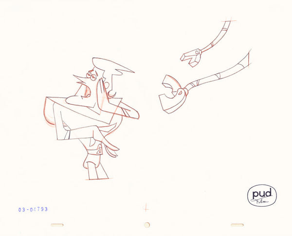 Jim Dewicky - animation production drawing - Jax calls while robot hand encroach