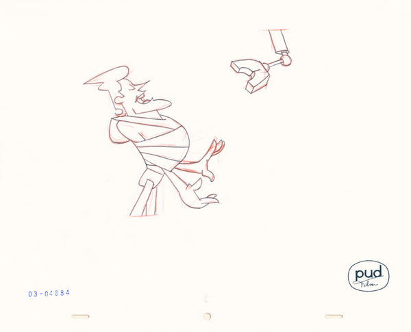 Jim Dewicky - animation production drawing - Jax is tied up and robot hand is closing int